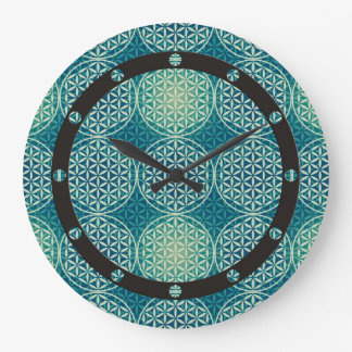 Flower of Life - stamp pattern - cyan blue Clock