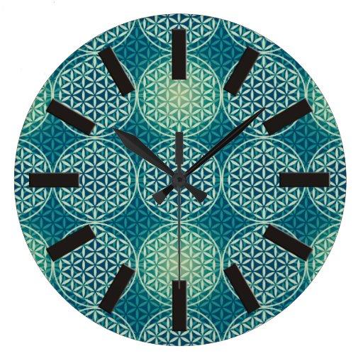 Flower of Life - stamp pattern - cyan blue Wallclocks
