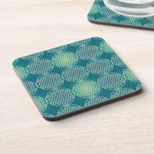 Flower of Life - stamp pattern - cyan blue Drink Coaster