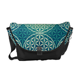 Flower of Life - stamp pattern - cyan blue Courier Bag