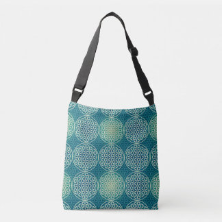 Flower of Life - stamp pattern - cyan blue Crossbody Bag