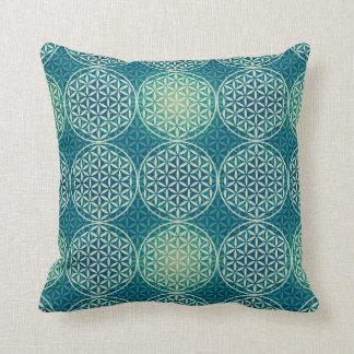Flower of Life - stamp pattern - cyan blue Cushion