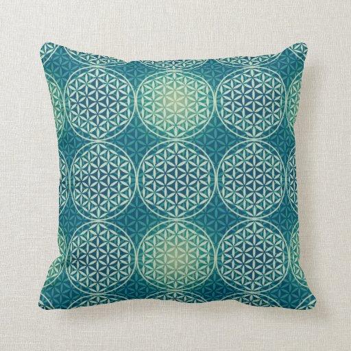 Flower of Life - stamp pattern - cyan blue Pillow