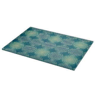Flower of Life - stamp pattern - cyan blue Cutting Boards