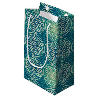 Flower of Life - stamp pattern - cyan blue Small Gift Bag