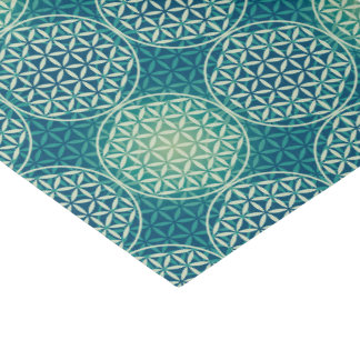"Flower of Life - stamp pattern - cyan blue 10"" X 15"" Tissue Paper"