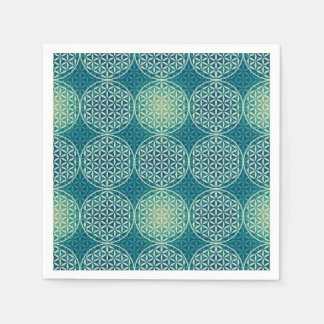 Flower of Life - stamp pattern - cyan blue Disposable Serviette