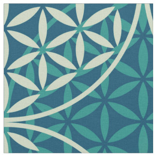 Flower of Life - stamp pattern - cyan blue Fabric