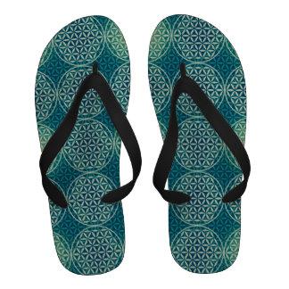 Flower of Life - stamp pattern - cyan blue Flip-Flops