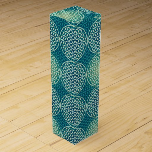 Flower of Life - stamp pattern - cyan blue Wine Boxes