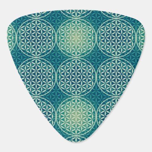 Flower of Life - stamp pattern - cyan blue Guitar Pick