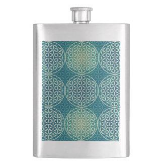 Flower of Life - stamp pattern - cyan blue Hip Flask