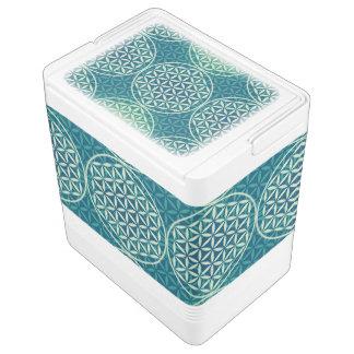 Flower of Life - stamp pattern - cyan blue Igloo Cooler