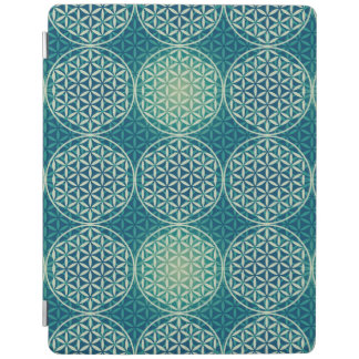 Flower of Life - stamp pattern - cyan blue iPad Cover