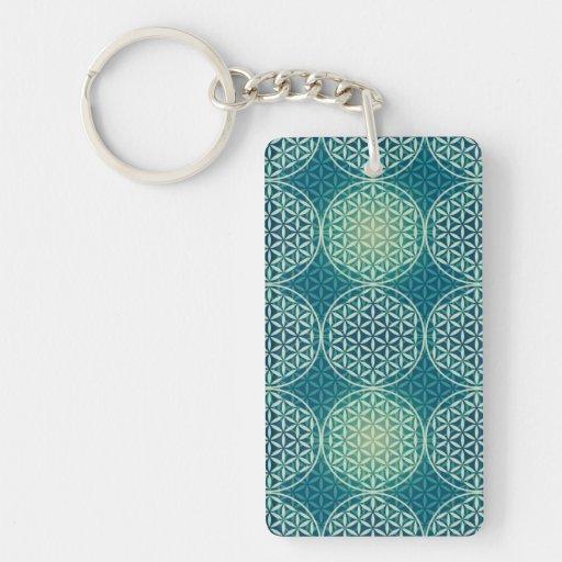 Flower of Life - stamp pattern - cyan blue Rectangular Acrylic Key Chains