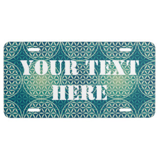 Flower of Life - stamp pattern - cyan blue License Plate