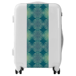 Flower of Life - stamp pattern - cyan blue Luggage