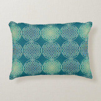 Flower of Life - stamp pattern - cyan blue Accent Pillow