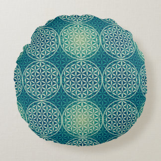 Flower of Life - stamp pattern - cyan blue Round Pillow