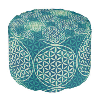 Flower of Life - stamp pattern - cyan blue Round Pouf