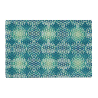 Flower of Life - stamp pattern - cyan blue Laminated Place Mat