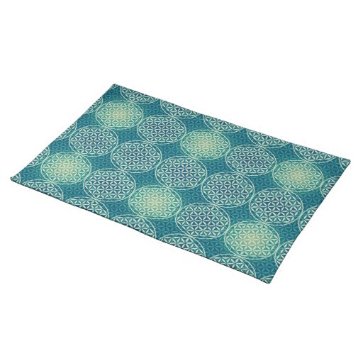 Flower of Life - stamp pattern - cyan blue Placemats