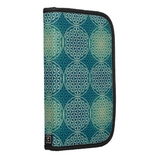Flower of Life - stamp pattern - cyan blue Folio Planners
