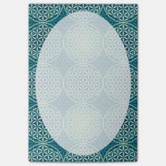 Flower of Life - stamp pattern - cyan blue Post-It Note