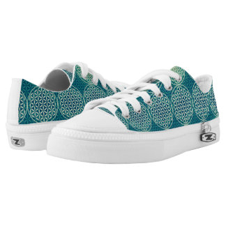 Flower of Life - stamp pattern - cyan blue Printed Shoes