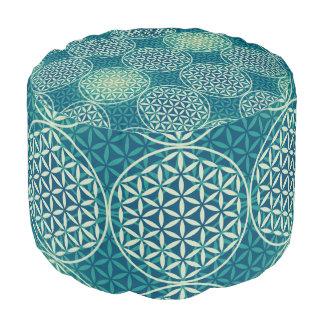 Flower of Life - stamp pattern - cyan blue Round Pouffe