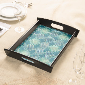 Flower of Life - stamp pattern - cyan blue Service Trays