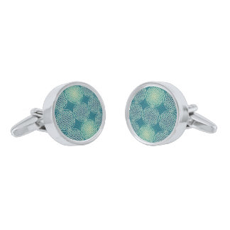 Flower of Life - stamp pattern - cyan blue Silver Finish Cuff Links