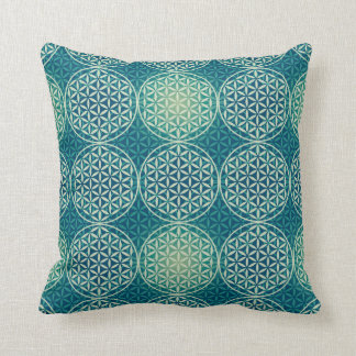 Flower of Life - stamp pattern - cyan blue Throw Pillow