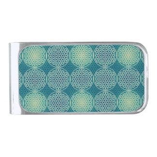 Flower of Life - stamp pattern - cyan blue Money Clip