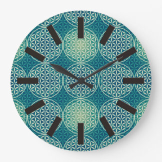 Flower of Life - stamp pattern - cyan blue Wall Clocks