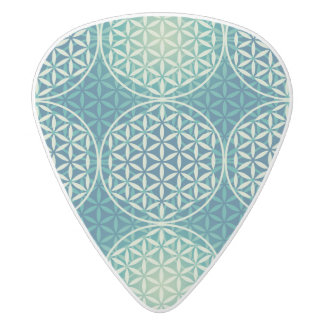 Flower of Life - stamp pattern - cyan blue White Delrin Guitar Pick