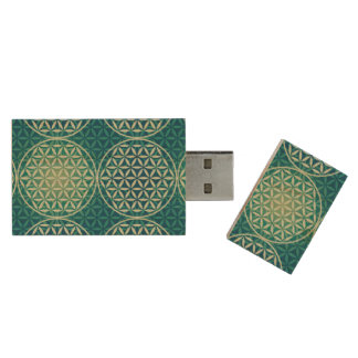 Flower of Life - stamp pattern - cyan blue Wood USB 2.0 Flash Drive