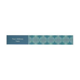 Flower of Life - stamp pattern - cyan blue Wraparound Address Label