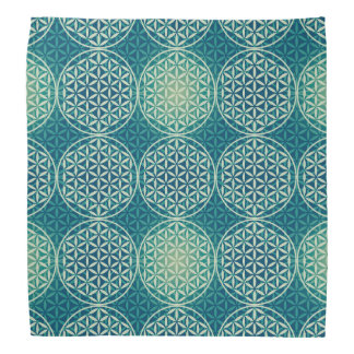 Flower of Life - stamp pattern - cyan blue Kerchief