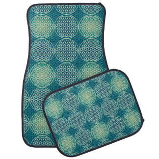 Flower of Life - stamp pattern - cyan blue Floor Mat