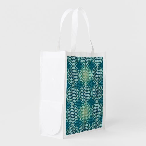 Flower of Life - stamp pattern - cyan blue Market Totes