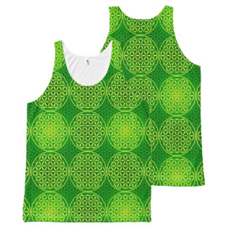 Flower of Life - stamp pattern - green All-Over Print Tank Top