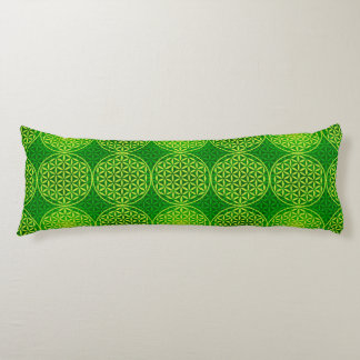 Flower of Life - stamp pattern - green Body Cushion