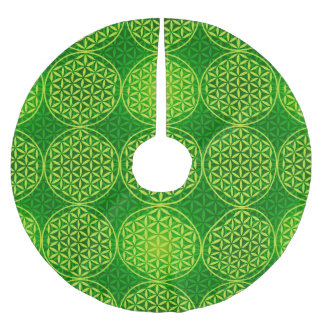 Flower of Life - stamp pattern - green Brushed Polyester Tree Skirt