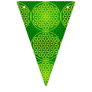 Flower of Life - stamp pattern - green Bunting