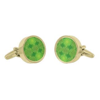 Flower of Life - stamp pattern - green Gold Finish Cufflinks