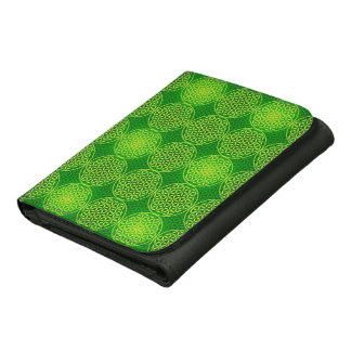 Flower of Life - stamp pattern - green Leather Wallets