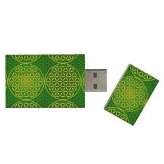 Flower of Life - stamp pattern - green Wood USB 2.0 Flash Drive