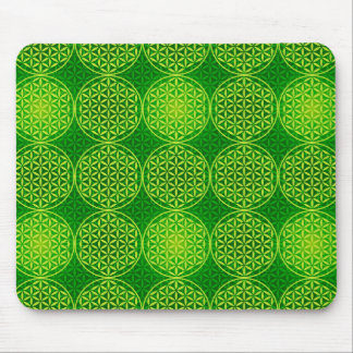 Flower of Life - stamp pattern - green Mouse Pads
