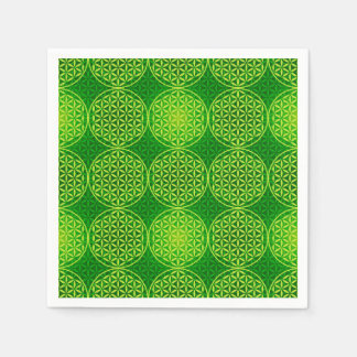 Flower of Life - stamp pattern - green Disposable Napkin